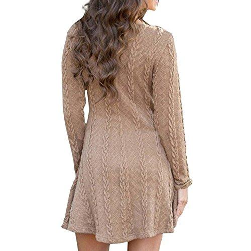 Highdas modelli scoppiare in lungo tratto maglione girocollo manica lunga colore solido Dress Marrone