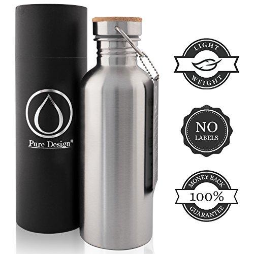 Trinkflasche 1L von Edelstahl. Ohne Plastik, BPA Frei, Geld-zurück-GARANTIE.