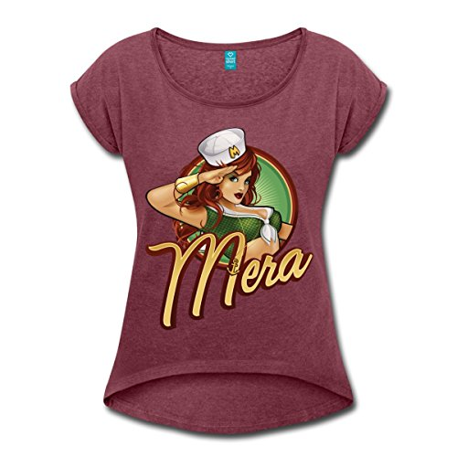DC Comics Bombshells Mera Aquawoman Frauen T-Shirt mit gerollten Ärmeln von Spreadshirt®, M, Bordeauxrot (Jahre Pin Girl 40er Up)