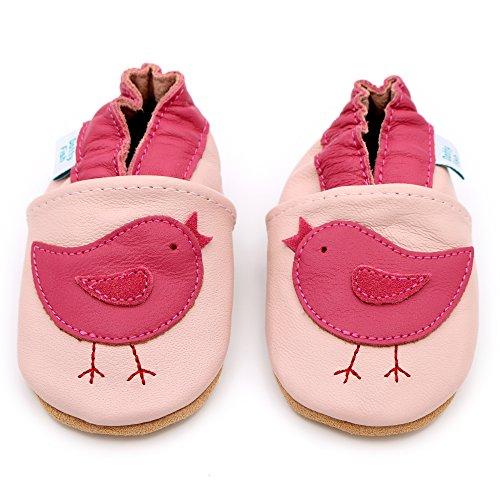 Dotty Fish - Scarpine in pelle prima infanzia - Ragazza - Fiori Rosa Uccello