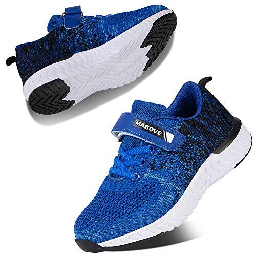 Kyopp Laufschuhe Kinder Turnschuhe für Mädchen Jungen Sportschuhe Kinderschuhe Outdoor Sneakers Klettverschluss Atmungsaktiv Unisex(4#Blue 31 EU)