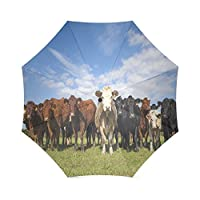 Custom Cows Compact Travel Windproof Rainproof Foldable Umbrella