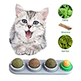 Hamkaw Compressed Catnip Ball Set, Lickable Cat Treats Stick-On Wall Toy with Adhesive Sticker, Health Care - Cat Nutrition Treat Ball & Matatabi Ball & Gall Nut & Cat Mint Ball