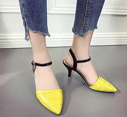 Sommer wies Baotou Sandalen mit Glas Schnalle Sandalen Frauen Sandalen mit Komfort in Yellow