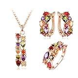 Aienid Versilberte Basis Halskette Ohrringe Ring Schmuck Set für Frauen Doppelt Reihe Farbe Zirkon Rose Gold-Ring Größe:54 (17.2)