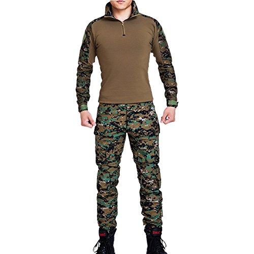Vividda Herren Sweatshirt Top und Camouflage Hosen für Armee Militär Airsoft Paintball und Jagd Wargame Paintball Anzug Unifrom XL