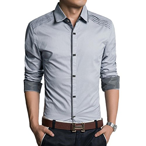 Jeansian Hommes Fashion Shirt Chemises Casual Manches Longues Men Casual Shirt Slim Fit Tops MCF002 LightGray