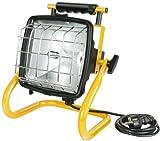 Brennenstuhl Halogenstrahler Brobusta / Flutlicht ideal als mobiler Baustrahler (Außenstrahler IP54 geprüft, 5m Kabellänge, 400 Watt) Farbe: gelb