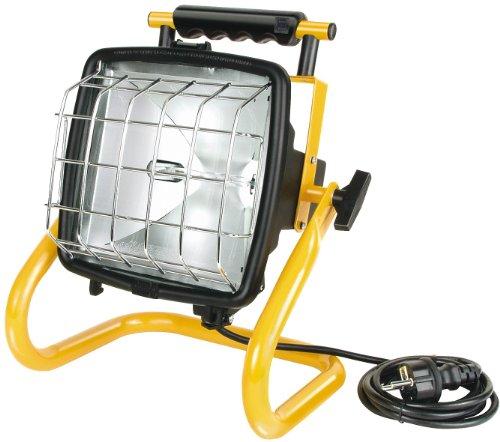 Brennenstuhl Halogenstrahler Brobusta / Flutlicht ideal als mobiler Baustrahler (Außenstrahler IP54 geprüft, 5m Kabellänge, 400 Watt) Farbe: gelb - Metall-halogen-licht-lampe