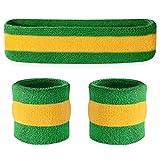 Suddora Headband / Wristband Set - Sports Sweatbands For Head And Wrist (Green Yellow Green)
