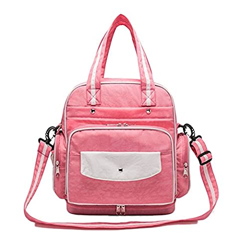 Fanova Pink Nylon Oxford Baby Nappy Changing Backpack Outdoor Mommy Hand Bags Diaper Bags Shoulder Bags For Lady or Dad (pink)