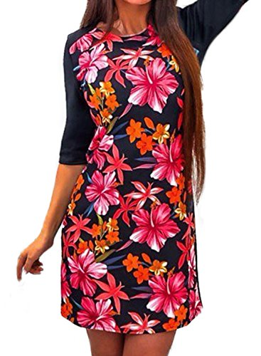 Minetom Femme Mini Robe de Plage Party Casual Manche Courte Impression de Fleurs Robe D'été A01