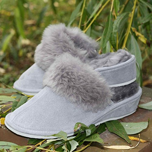 Peau de mouton Chaussons - MAROC Pantoufles Pour Femme pantoufles Gris