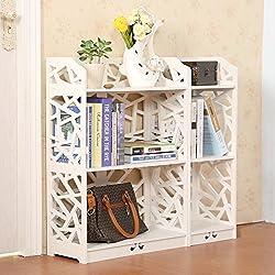 Dline - White Wood Plastic Bookshelf - Bookcase - Storage Shelf-3 Tiers LF3CZWJA