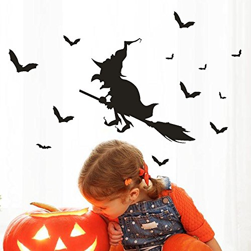 VEMOW Heißer Verkauf Happy Halloween Party Hexe Bat Wandaufkleber Fenster Dekoration Abziehbild Dekor 45 * 30 CM (Halloween-dekoration Online Usa)