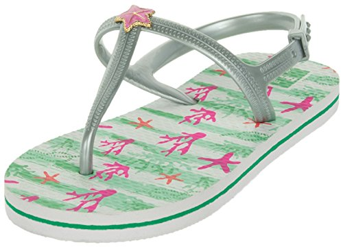 Beppi Mädchen Sandalen Sommer Schuhe | Badeschuhe Strandschuhe Freizeitschuhe | Bequem Luftig Offen | Silber | 30