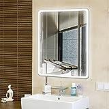 Badspiegel mit Beleuchtung,Badezimmerspiegel mit Beleuchtung, Beleuchtete Touch Control,5050 LED Strip Runder Winkel (80 * 60cm)