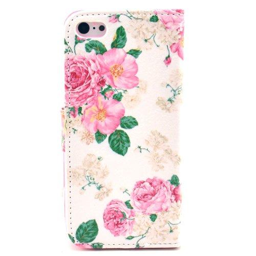MOONCASE iPhone 5C Case Motif Conception Coque en Cuir Portefeuille Housse de Protection Étui à rabat Case pour iPhone 5C P10