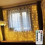 2m x 2m luces de cortina con mando a distancia temporizador funciona con pilas LED Icicle luces para ventana, jardín, patio, boda, dormitorio, fiesta, Festival celebración (intensidad regulable, luz blanca cálida)