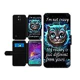 Alice im Wunderland I'm not crazy Cat Cheschire Kunstleder wallet Handy Tasche Schutz Hülle für Samsung Galaxy Note 4