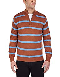 Arrow Sports Mens V-Neck Cotton Sweater (8907163892843_AKMS7771A_L_Brown and Blue)