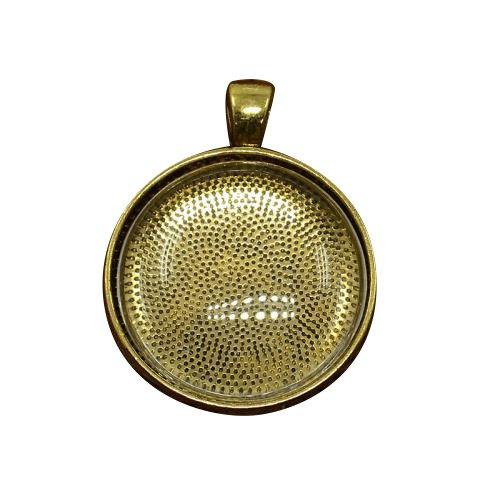 Pandahall 5 Set 30mm Cabochon Vetro Ciondoli per Collane Bracciali Cupola Trasparente e Basi Ciondoli Colore Oro Antico, Ciondoli: 41x32x3mm, Foro: 4mm, Vassoio: 30mm