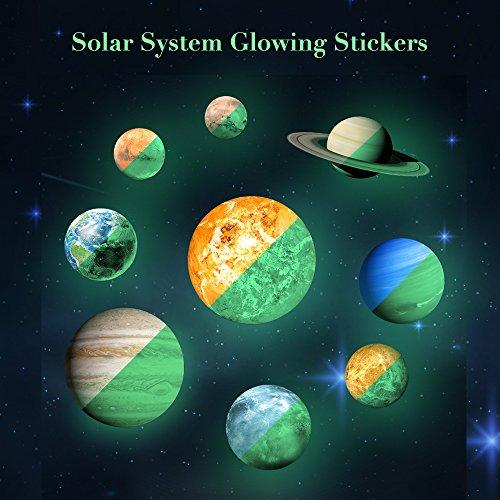 Rocwart 3D Solar System Wand Aufkleber 9Planet Luminous Wandtattoo Glow in Dark für Kinder Baby, Living Room Art Home Dekoration Muiticolor (Dunklen Der Glühen Ideen In)