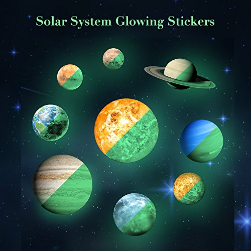 Rocwart 3D Solar System Wand Aufkleber 9Planet Luminous Wandtattoo Glow in Dark für Kinder Baby, Living Room Art Home Dekoration Muiticolor (The In Glow Dark-wand-aufkleber)