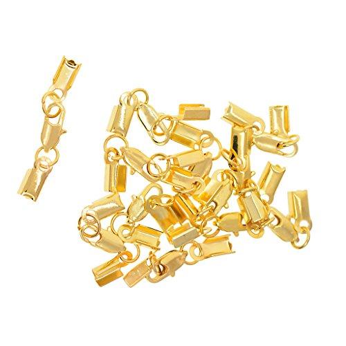 D DOLITY 12 Stück Crimp Kabelende Terminal Bootlace Endstück Verbinder - Gold, 9 mm -