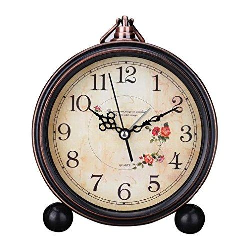 Sincek new 12,7cm stile europeo bel fiore mattina orologio classico vintage retrò comodino sveglia orologio da viaggio, funzionamento a batteria, orologio da parete silenzioso silent home decor best gift