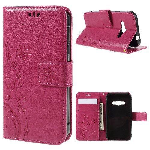 jbTec® Flip Case Handy-Hülle zu Samsung Galaxy Xcover 3 / SM-G388F - Book Muster Schmetterlinge S16 - Handy-Tasche Schutz-Hülle Cover Handyhülle Ständer Bookstyle Booklet, Farbe:Deep Pink