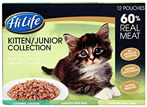 Hilife 60 Percent Real Cat Food Kitten Junior Multipacks x 12 (Pack of 3, Total 36 Pouches)