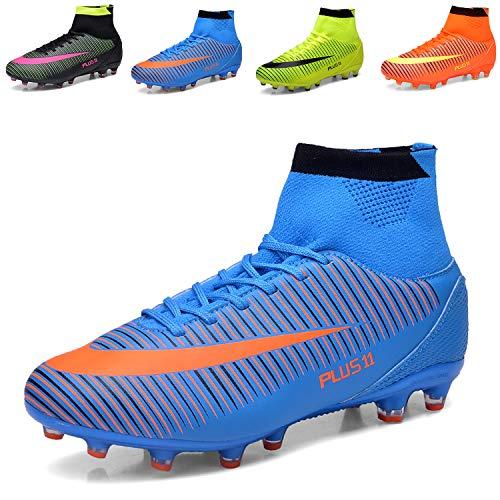 WOWEI Fußballschuhe High Top Spike Cleats Outdoor Athletics Trainingsschuhe Unisex Erwachsene Teenager Fußball Stiefel,Blau,EU35