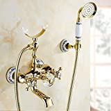 WTCHI Dusch Badewannenarmaturen Luxus Gold Messing Bad Wasserhahn Mischbatterie Wandmontage Handbrause Kit Duscharmatur Sets Chrom poliert Silber