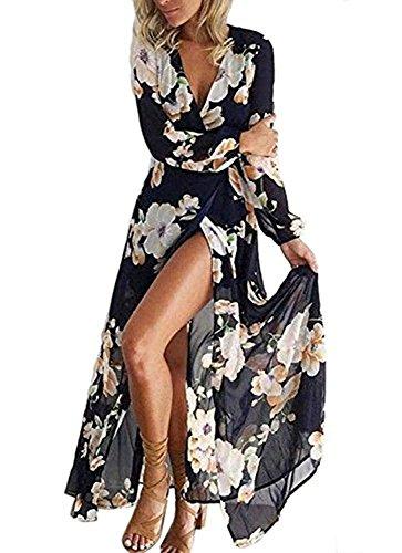 Luojida Femme Robe de Plage Bohême Longue Floral Ete Sexy Bas Irrégulière Plissée Style Epaule Nu Col Beatou (M, Bleu-Blanc)