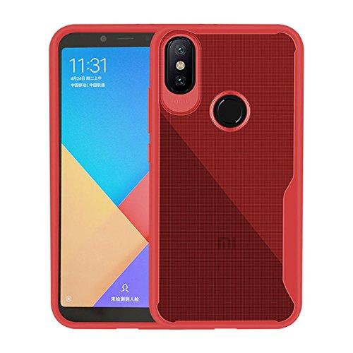 AddGuan Xiaomi redmi 6 Pro / Xiaomi Mi A2 Lite Case, Carry [Tela 2 pacote Protector de vidro temperado] ultrafinos choque capa protetora de silicone transparente TPU Soft Shell, apropriado para Xiaomi redmi 6 Pro / Xiaomi Mi Lite Caso A2 (Transparent Red)