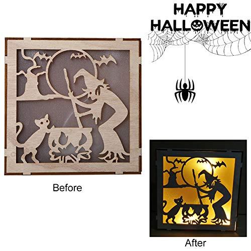 Halloween Lichter Für Verkauf - WEISY Halloween-Dekoration im Freien, hölzerne Halloween-Quadrat-Laser-Höhle
