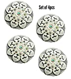 #7: Paushak Boutique Grey White Printed Button for Indian Dresses for Kurties,Gowns and Party Wears Dresses (Set of 4)