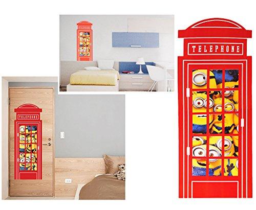alles-meine.de GmbH XXL Wandsticker -  Minion - Ich einfach unverbesserlich / in der Telefonzelle / Telefon  - selbstklebend + wiederverwendbar - Aufkleber für Kinderzimmer - W.. - Telefon Telefonzelle