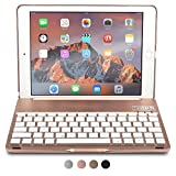 Apple iPad Air 2 / Pro 9.7 étui clavier, COOPER NOTEKEE F8S Clavier rechargeable sans fil Bluetooth LED rétroéclairage Étui clapet Macbook 7 couleurs rétro-éclairage - (Or rose)