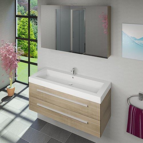 Waschtisch mit Waschbecken, Unterschrank City 101 120cm Eiche hell - 6
