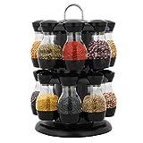 Costway Support à Epices Carrousel, 2 Etages avec 16 Pots à Epices Plastique ABS, pour Cuisine Noir