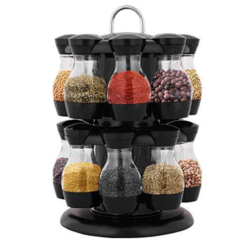 Costway Support à Epices Carrousel, 2 Etages avec 16 Pots à Epices Plastique ABS, pour Cuisine No