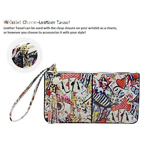 Befen pelle morbida Smartphone Zipper Wallet Organizer con il supporto della carta di credito / tasca contanti / Wristlet- [Fino a 6 x 3.1 * 0.3 pollici del cellulare] Black Poker