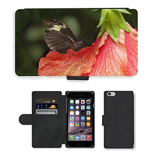 Just Mobile pour Hot Style Téléphone portable étui portefeuille en cuir PU avec fente pour carte//m00138621papillon Insectes Fermeture Sonde//Apple iPhone 6Plus 14cm