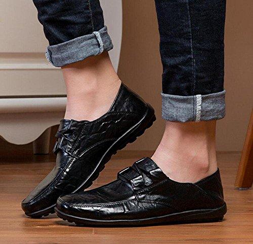 SHINIK Herren Outdoor Leder Daily Life Casual Schuhe Low Set Schuhe Flach Schuhe Black