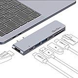 QacQoc USB C Hub Typ c Adapter für MacBook Pro Thunderbolt 3 (40 Gbps) mit 2 USB 3.0-Anschlüsse, Einem HDMI-Anschluss, SD/Mikro-SD Kartenleser und 2 Typ-C-Buchsen für MacBook Pro 2016/2017 (Gray)