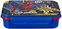 Marvel Spider Man Plastic Lunch Box Set, 3-Pieces, Multicolour (HMRPLB 00734-SPM)
