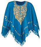 #7: Kashmiri Women's Poncho Hand Embroided (Blue)