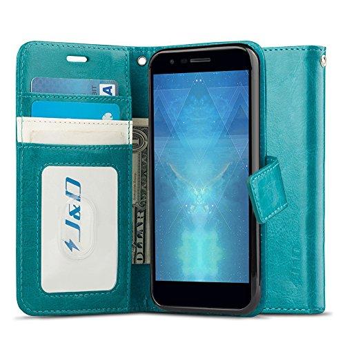 J & D LG K30 Hülle, LG K10 2018 Hülle, [RFID Blocking Standfuß] [Slim Fit] Robust Stoßfest Aufklappbar Tasche Hülle für LG K30, LG K10 (Release in 2018) - [Nicht kompatibel mit LG K10 2017] - Türkis